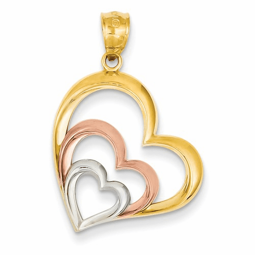 14k Two-tone And Rhodium Heart Pendant K2551