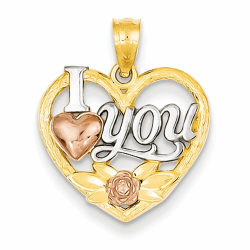 14k Two-tone And Rhodium I Love You Heart Pendant K2589