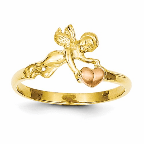 14k Two-tone Angel & Heart Ring K3891