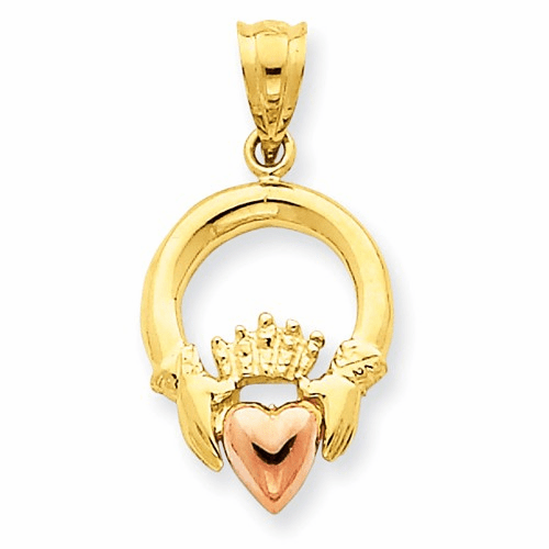 14k Two-tone Claddagh Pendant D658