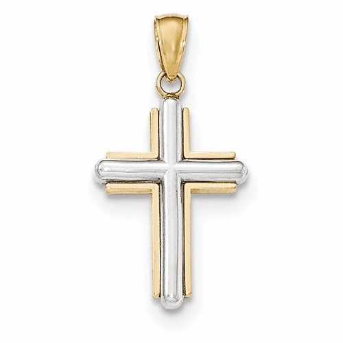 14k Two-tone Cross Pendant K5489