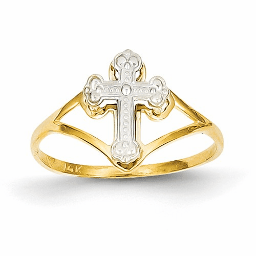 14k Two-tone Cross Ring K2054
