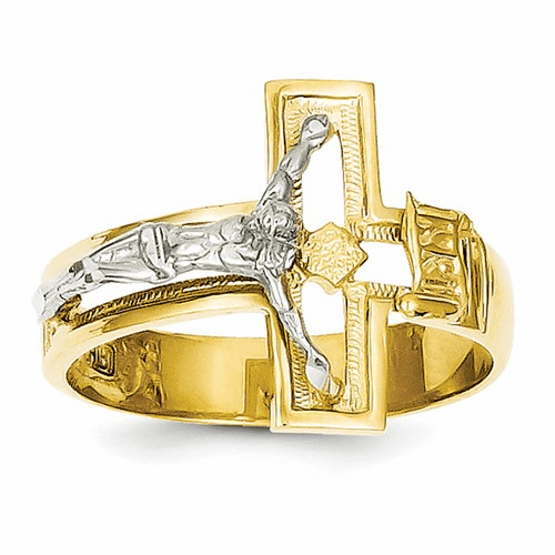 14k Two-tone Crucifix Men's Ring K3971