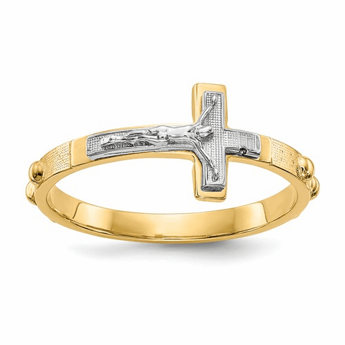14k Two-tone Crucifix Rosary Ring K3967