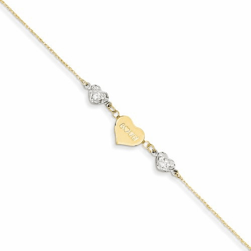 14k Two-tone D/c Puffed Heart Love W/ 1in Ext Anklet Ank253-9