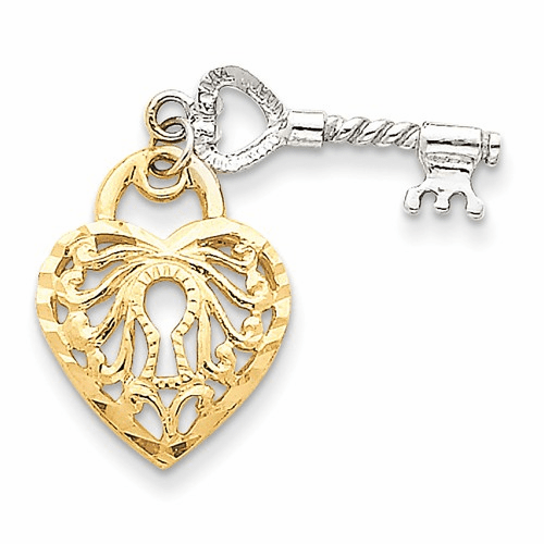 14k Two-tone Heart & Key Charm D598