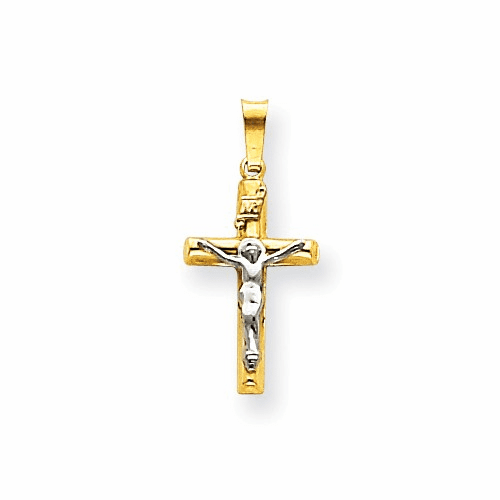 14k Two-tone Inri Hollow Crucifix Pendant Xr295