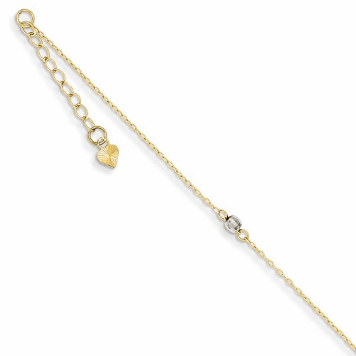 14k Two-tone Mirror Bead Anklet Ank185-9