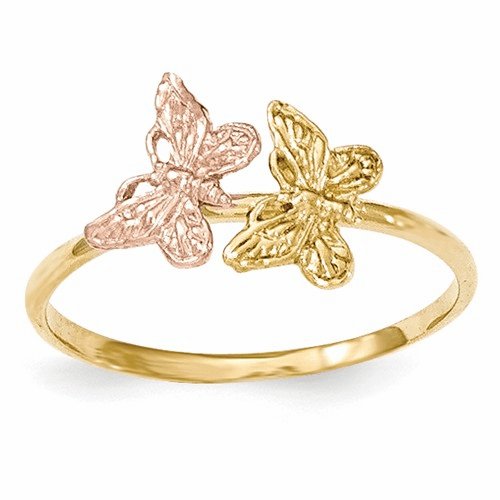 14k Two-tone Polished Butterfly Ring K5770