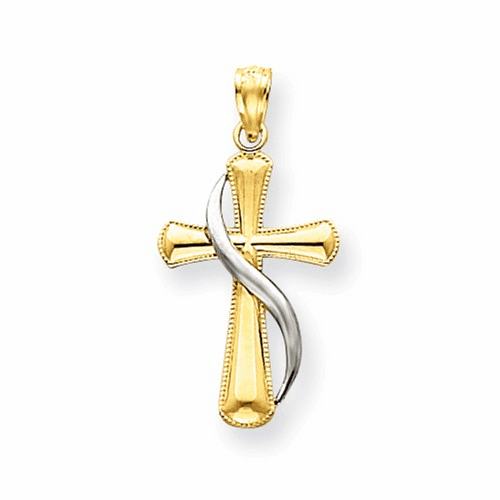 14k Two-tone Polished Cross Pendant C3816