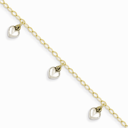 14k Two-tone Polished Dangle Heart Baby Bracelet Bid90-5.5