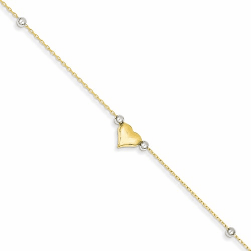 14k Two-tone Polished Puffed Heart With Beads Anklet Ank48-10