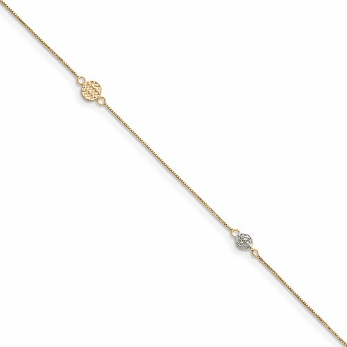 14k Two-tone Puff Circle With 1in Ext Anklet Ank226-10
