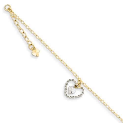 14k Two-tone Twisted & Diamond Cut Hearts W/ 1in Ext Anklet Ank258-9