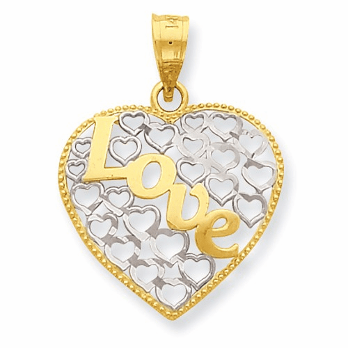 14k W/ Rhodium Diamond-cut Love Heart Pendant K3985