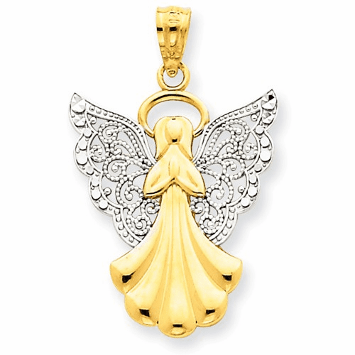 14k W/rhodium Filigree Angel Pendant D3721