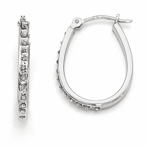 14k White Diamond Fascination Oval Hinged Hoop Earrings Df148