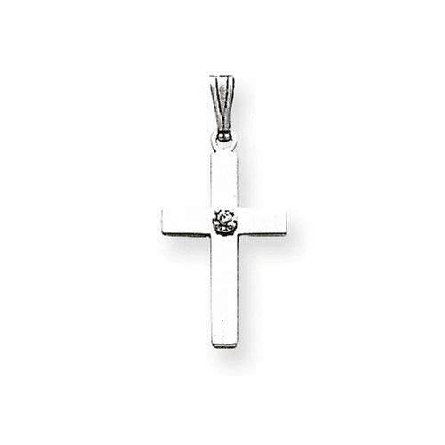14k White Gold .01ct. Diamond Cross Pendant Xwr37