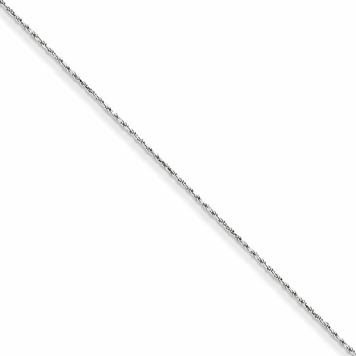 14k White Gold 1.15mm Machine-made Rope Chain Anklet W010-9