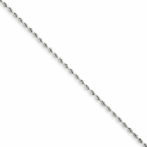 14k White Gold 1.5mm D/c Rope Chain Anklet 012w-9