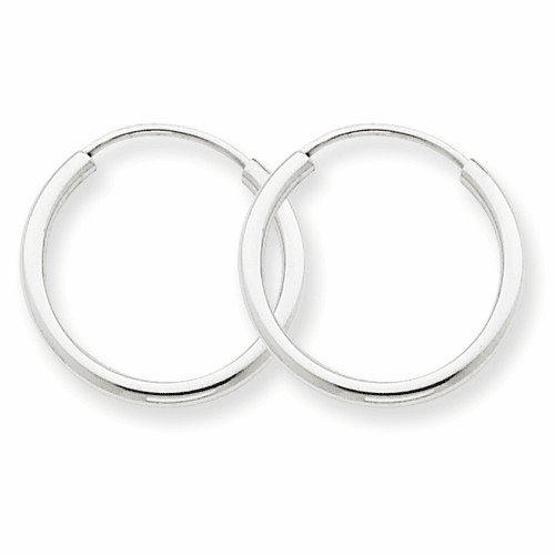 14k White Gold 1.5mm Polished Endless Hoop Earrings Xy1182
