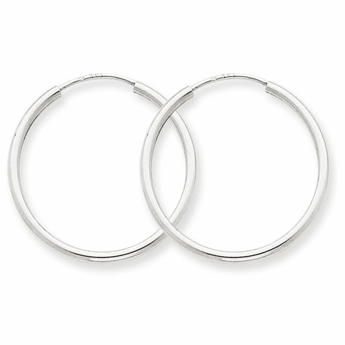 14k White Gold 1.5mm Polished Endless Hoop Earrings Xy1184