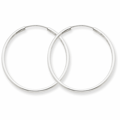 14k White Gold 1.5mm Polished Endless Hoop Earrings Xy1185