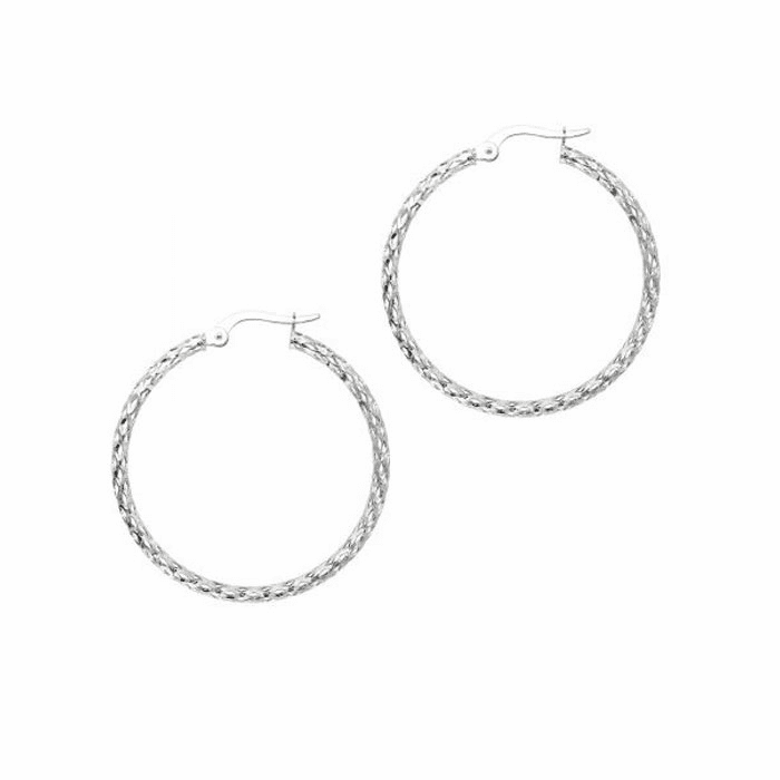 14K White Gold 1.5X27mm Diamond Cut Fashion Sparkle Large Hoop Earring