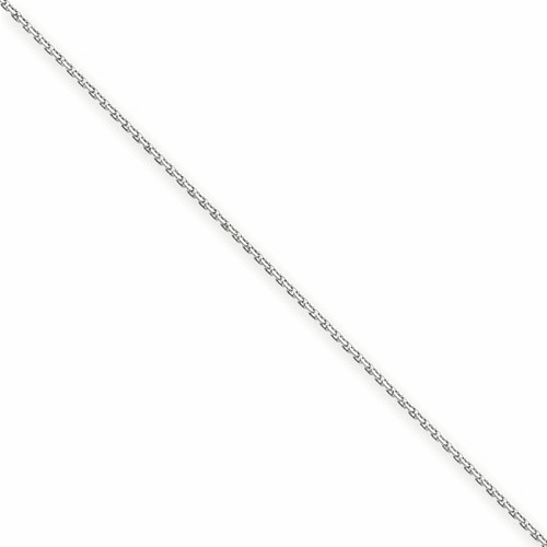 14k White Gold 1.65mm Solid Diamond-cut Cable Chain Anklet