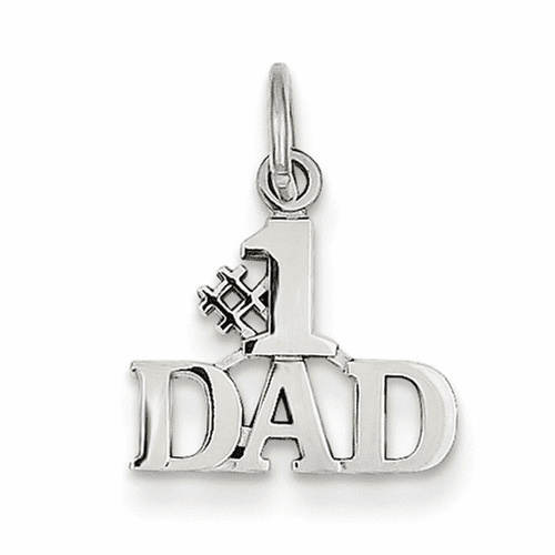 14k White Gold #1 Dad Charm Wch66
