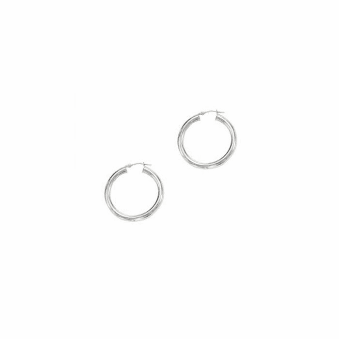 14K White Gold 4X30mm Shiny Ed Hoop Earring with Hinged Clasp