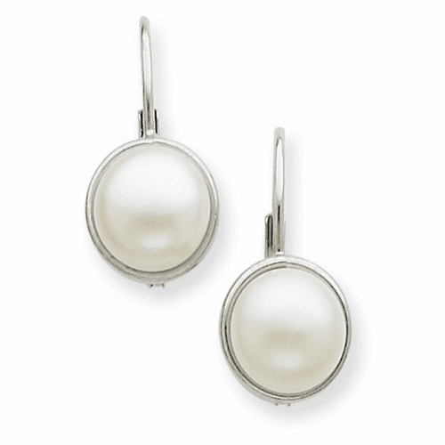 14k White Gold 6-7mm Fw Cultured Button Pearl Leverback Earrings