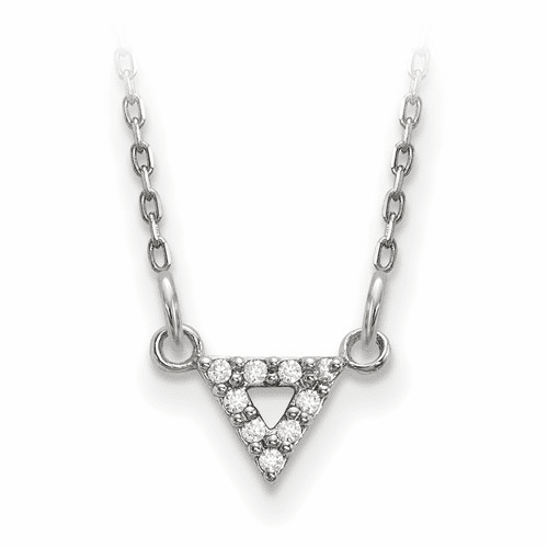 14k White Gold A Quality Diamond 6mm Triangle Necklace Xp5010wa