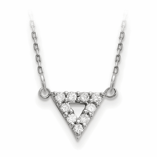 14k White Gold A Quality Diamond 9mm Triangle Necklace Xp5011wa