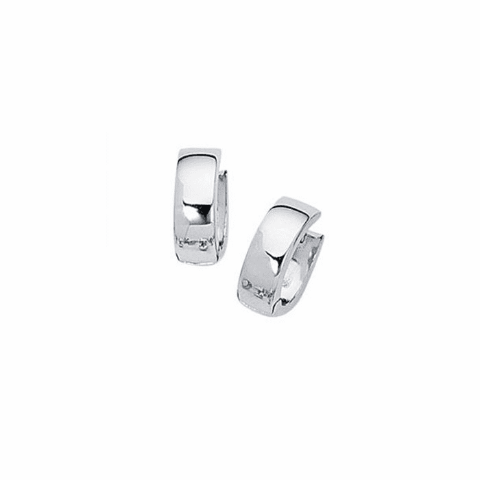 14K White Gold All Shiny 5.0mm Snuggable Earring