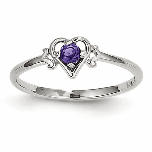 14k White Gold Amethyst Birthstone Heart Ring Yc413