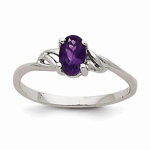 14k White Gold Amethyst Birthstone Ring Xbr143