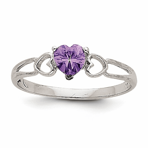 14k White Gold Amethyst Birthstone Ring Xbr167