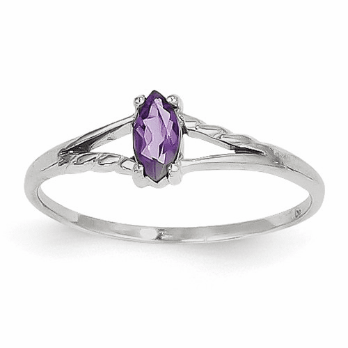 14k White Gold Amethyst Birthstone Ring Xbr191