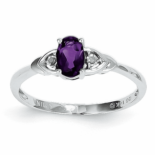 14k White Gold Amethyst Diamond Ring Xbr419