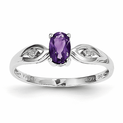 14k White Gold Amethyst Diamond Ring Xbs297