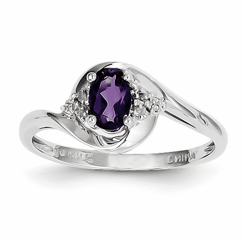 14k White Gold Amethyst Diamond Ring Xbs369