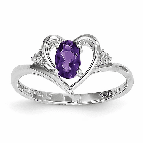 14k White Gold Amethyst Diamond Ring Xbs441