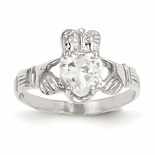 14k White Gold April Birthstone Claddagh Ring R502