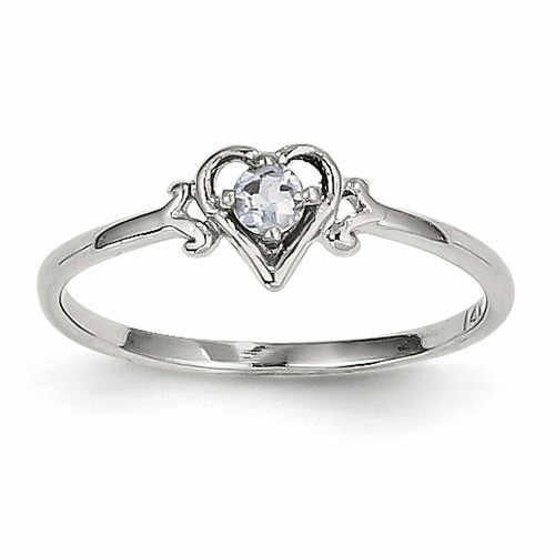 14k White Gold Aquamarine Birthstone Heart Ring Yc414