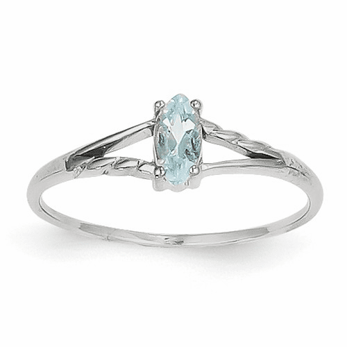 14k White Gold Aquamarine Birthstone Ring Xbr192