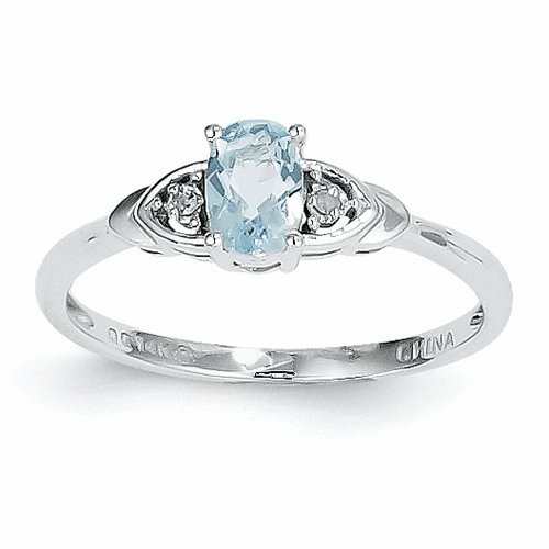 14k White Gold Aquamarine Diamond Ring Xbs230