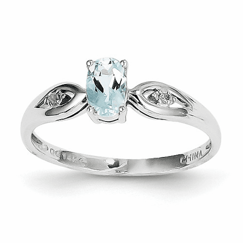 14k White Gold Aquamarine Diamond Ring Xbs302
