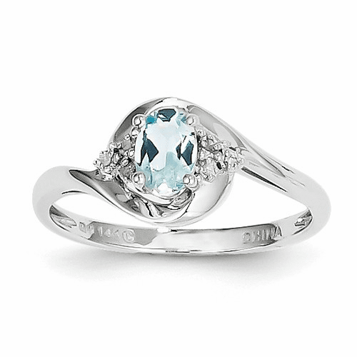 14k White Gold Aquamarine Diamond Ring Xbs374