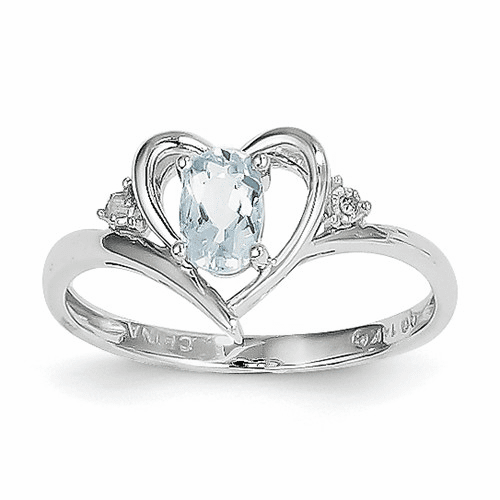 14k White Gold Aquamarine Diamond Ring Xbs446
